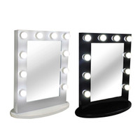 Wholesale Dimming Mirror - Hollywood Tabletops Makeup Lighted Mirror Vanity Light with Dimmer Aluminum Frame Stage Beauty Mirror+FREE 12 LED bulbs