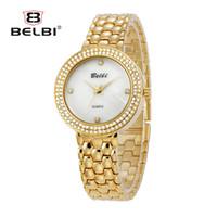 Wholesale Model Watch Brand - BELBI Simple Diamond Women Watches Luxury High Quality Alloy Bracelet for Ladies Model Waterproof Quartz Female Dress Watch China Brand