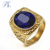 TL Vintage Mens Ring 4 Color Oval Zirconia Finger Rings Gold Tone Classic Ring Great Wall Pattern Men Domineering Cool Jóias