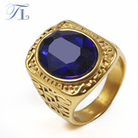 TL Vintage Mens Ring 4 Farbe Oval Zirkonia Finger Ringe Gold Tone Classic Ring Große Wand Pattern Männer Domineering Cool Schmuck