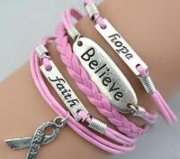 Wholesale Ring Hope - Breast Cancer Bracelets Believe Faith Hope Leather Bracelet fashion personality charm bracelet hand-woven bracelet Handmade Jewelry 100pcs
