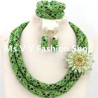 Wholesale Italian Gold Set - 2017 African Nigeria Jewelery Sets Mix Green Multicolor Crystal Beads Wedding Necklace Set Free Shipping 2 rows 18k italian gold jewelry SET
