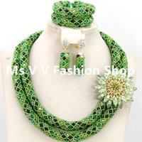 ingrosso set di gioielli africani-2019 African Nigeria Jewellery Sets Mix Green Multicolor Crystal Beads Collana di nozze Set Spedizione gratuita 2 righe 18k gioielli in oro italiano SET