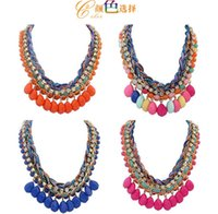 Wholesale Resin Statement Chain - 2016 New Good quality Bijoux Collares Mujer Bohemia Waterdrop Resin Pendant With Twist Claw Chain Statement Necklaces