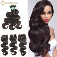 Unprocessed Raw Temple Indian Virgin Human 3 Hair Bundles With 4x4 Closure Body Wave 1B Color With Baby Hair Supplier Queenlike 7A Silver
