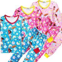 Wholesale Carton Set Girl - Baby Girls Moana Pajamas Long Sleeve Tops+Pants Sets Carton Autumn Winter Anime Printed Pajamas Clothing Suits