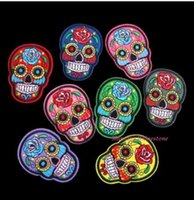 Wholesale Fabric Clothing Tags - Mixed Skull Clothes Patch DIY Flowered Skeleton Embroidered Patches Iron On Fabric Badges Sew On Cloth Applique
