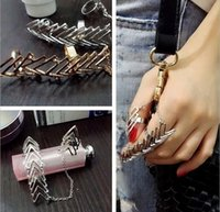 Wholesale Gothic Joint Ring - Free DHL Gothic Gold Bling Flower Punk Rock Rhinestone Cross Knuckle Joint Armor Long Full Finger Ring Gift For Women Girl D851E