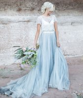 Wholesale Colorful Crop Tops - Light Blue Wedding Gown White Lace Sheer Detachable Jacket Crop Top Short Sleeves Tulle A-line Two Toned Bridal Dress Colored Bride Gowns