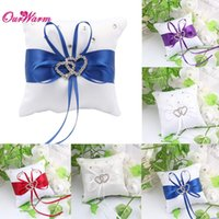 Wholesale Double Heart Ring Pillow - Ring Bearer Double Heart Party Pillow Cushion Wedding Crystal Rhinestone Romantic Design for Wedding Decoration 20*20cm 8 color <$16 no trac