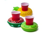Wholesale Swimming Pools Inflatables - Free Shipping 10Pcs pool party Inflatable FRUITS BEVERAGE BOAT Flamingo DONUTS Drink Storage Holder Floating Swimming Pool Bath Beach Toy