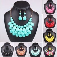 Wholesale Red Statement Bubble Necklace - Hot Acrylic Bead Chokers Statement Necklaces 2016 Bib Bubble Necklace Earrings Jewelry Set Multi layer Jewellery Sets Collar