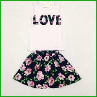Wholesale Girls Floral T Shirt - free shipping girls vestidos suits floral layered short dresses sleeveless t-shirts LOVE letters print fashion lovely style hot selling