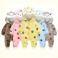 Wholesale long sleeve new baby bodysuit - AbaoDo new arrival 5 color animal style baby rompers cute sweet sleepsuit infants bodysuit long sleeve winter newborn clothing drop shipping