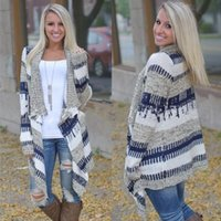 Wholesale Woman S Sweaters Cheap - Fashion Autumn Women Long Sweaters 2016 Cheap Winter Apparel Casual Knitted Contrast Clor Long Sleeve Oversized Cardigan Coats Outerwear