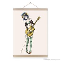 Wholesale digital art drawings - Mild Art Guitar Girl Modern Cartoon A4 Poster Prints Pop Rock Roll Hippie Music Hipster Drawing Big Canvas Painting Bedroom Wall Art Gifts