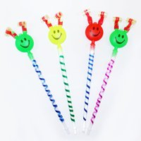 Wholesale blow whistle - Long Nose Blow Out Dragons Roll Stall Toys With Horn Sound Whistles Cartoon Smile Face Party Supplies Dragon Whistle 0 48fq B R