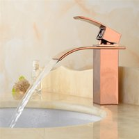 Wholesale Vanity Ceramic Sink Sale - Hot Sale Waterfall Bathroom Faucet Deck Mounted Brass Vanity Sink Mixer Tap Hot & Cold,the basin faucet,the rose gold faucet