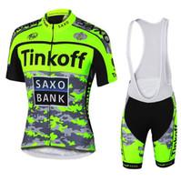 cycling al por mayor-¡Caliente! Tinkoff saxo bank Nuevas camisetas de ciclismo Fluo / Ropa de bicicleta transpirable / Bicicleta de secado rápido Ropa deportiva Ciclismo / GEL Pad Bike Bib Pants