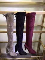 Wholesale Stretch Over Knee Boot - 2016 Fashion Brand Women genuine leather Stretch Elastic Over The Knee Boots Sheepskin med Heel boots Shoes 2.5cm Heel size35-40