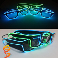 Wholesale Neon Birthday Party - LED Party Lighting Glasses Fashion EL Wire Led Neon Glasses for Xmas Birthday Halloween Neon Party Bar Costume Decor Supplies