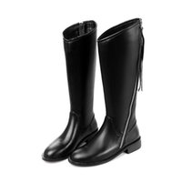 Speciali Super Fashion Influx Martin Elegante Ladies Knee High Boots Cuoio genuino Black Personality Side Zipper Cavaliere Stivali per le donne