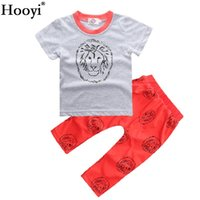 Wholesale Toddler Summer Zebra Boy - Hooyi Lion Baby T-Shirt Pant Clothes Set Toddler Grey T-Shirt Red Trouser Sport Suit Boys Outfit 100% Cotton Tops 0 1 2 3 Years Baby Summer
