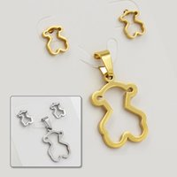 Wholesale Earing Steel - Rushed Limited wedding accessories statement earing and necklace stainless steel bear to.us jewelry set hearts for women