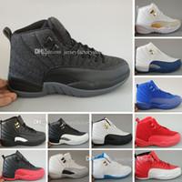 yüksek kavrama ayakkabıları toptan satış-Yüksek kalite Ucuz Yeni 12 12 s Mens Womens Basketbol Ayakkabı beyaz TAXI Grip Oyunu GS Barons Playoffs spor kırmızı Fransız mavi ayakkabı