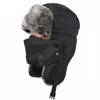 Wholesale Russian Style Hats - Winter Trapper Ushanka Hat Unisex Faux Fur Bomber Hat with Breathable Mask Unisex Nylon Russian Style Winter Ear Flap Hat