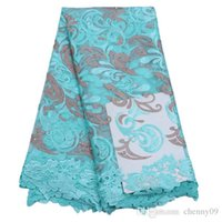 Wholesale Turquoise Lace Fabric Wholesale - Cheap price turquoise high quality African French Embroided Net Laces fabrics with stones swiss voile polyester for textile