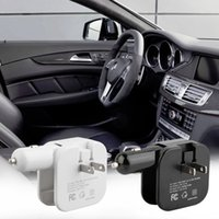 Hot 2 in 1 Dual Car Cigarette USB Charger Home Wall Travel Charger Preto / Branco Atacado