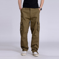 Wholesale Military Overall Uniform - Wholesale-2016 outdoors washing military uniform pants men loose cargo pants for men overalls Multi-pocket trousers large size 30-44