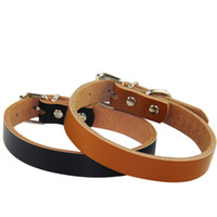 Wholesale Real Cowhide Leather - Hot sale Dog accessories Real Cowhide Leather Dog Collars 2 colors 4 sizes Wholesale Free shipping