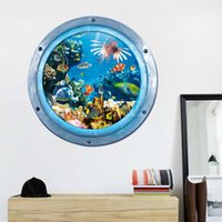 Wholesale Wholesale Eco Earth - New fashion 3D printed Sea World wall stickers decor bedroom houseroom stickers house home decoration Eco-friendly PVC safe material