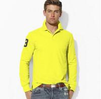 Wholesale Contrast Dress Men - 2016 sales Big Pony Golf men Polo shirts Autumn business men long sleeve cotton Horse embroidery Labels Polos Custom Design long Dress shirt