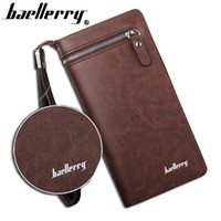 Wholesale Big Money Wallet Leather - Baellerry brand wallet men long man wallets leather male clutch Top Quality big purse money bag strap vintage cellphone bag