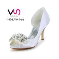 Wholesale Ivory Wedding Sandals Low Heel - 2016 Ivory Color Peep Toe Elegant Style Bridal Shoes Wedding Dress Shoes Handmade Shoes for Wedding From Size35-Size 42 Free Shipping