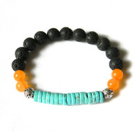 Wholesale Lava Style Unisex - SN0090 Bohemian Style Lava Stone Turquoise Bracelet Men's Jewelry Lava Rock bracelet DIY Design Jewelry Free Shipping