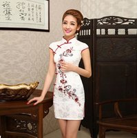 Wholesale Sexy Women White Cheongsam Dress - Elegant Chinese Style QiPao Ladie's Silk Evening Mini Dress Cheongsam Dresses
