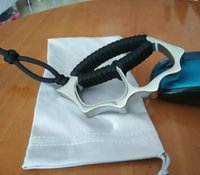 selbstverteidigung eisen großhandel-Edelstahl-Schlagringe eiserne Faust Spiegel poliert mit Seil Strick Gewicht 215g Griff mit Cord Strickselbstverteidigung besonderen Geschenken
