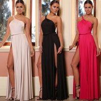 Wholesale one shoulder clubwear dress black - Women Maxi Celebrity Dress Sexy One Shoulder Split Party Prom Dress Summer Boho Long Beach Dresses Clubwear Free Shipping HZ029