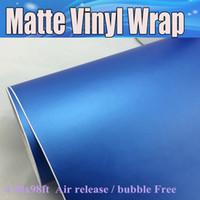 medidor de vinilo al por mayor-Pearl Blue Matt Vinyl Car Etiqueta engomada de envoltura del coche con burbuja de aire Matte mate libre Película Vechicle Wrap Graphics 1.52x30 Metro / Rollo Envío Gratis