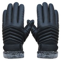 Wholesale Leather Mitten Gloves - Men's Gloves Leather Winter Mittens Anti Slip Screens Thermal Ski Gloves Hand Warmer Gloves For Men gants homme Guantes