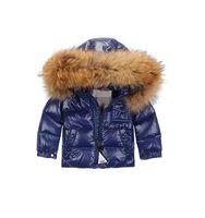 Wholesale Girls Purple Fur Coat - 16 New style boys and girls winter large raccoon fur collar down coat as winter outwear