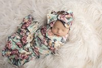 Wholesale Quilt Patchwork Set - Infant Baby Swaddle Sack Baby Floral printed Blanket Newborn Baby Soft Cotton Sleep Sack With Matching Knot Headband 2pc sets T0426