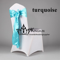 Wholesale Turquoise Satin Chair Sashes Wholesale - Turquoise Color Satin Chair Sash Chair Tie For Wedding Chair Cover