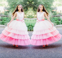 Wholesale Chiffon Wedding Dress Layers - Gorgeous White And Pink 4 Layers Flower Girl Dresses For Wedding Crew Sleeveless Tiered Grils Pageant Gowns With Handmade Flower Ribbon Sash