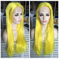 Wholesale Yellow Long Wigs - New Sexy Cosplay Wig Yellow Color Long Silky Straight Lace Front Wig Heat Resistantl Synthetic Hair Glueless Lace Front Wigs for Black Women