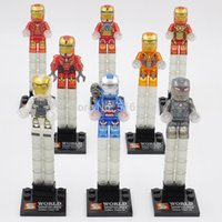 Wholesale Crystal Blocks Wholesalers - Iron Man Ironman Crystal Minifigures Super Heroes Avengers Ultron 8pcs lot Building Blocks Sets Model Bricks Toys Figures